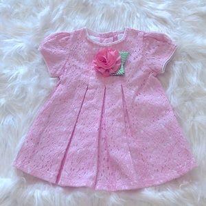 NWOT Pink Lace Dress Flower Detail